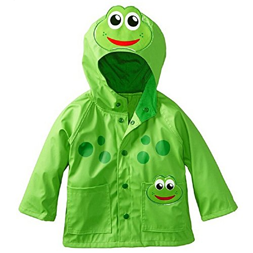 Sorrica Kids Girl's and Boy's Frog Lightweight Waterproof Hooded Jacket Outwear Raincoat (100(Fit for 2-3 Ages), - Frog Raincoat
