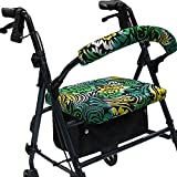 Crutcheze Green Paisley Floral Rollator Walker Seat and Backrest Covers Designer Fashion Accessories Made in USA