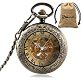 Vintage Bronze Automatic Mechanical Pocket Watch Roman Numerals Carving Retro Transparent Glass Cover Chain Gift
