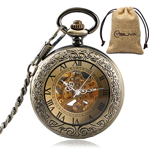 Vintage Bronze Automatic Mechanical Pocket Watch Roman Numerals Carving Retro Transparent Glass Cover Chain Gift … by MILIYA