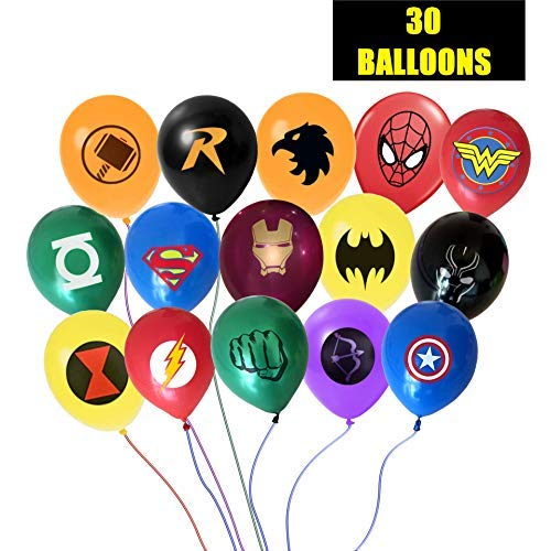JUSTICE LEAGUE INSPIRED SUPERHERO AVENGER BALLOON BUNDLE - 30 LARGE 12 INCH BALLOONS 15 DIFFERENT -