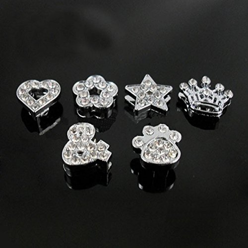 50PCS 8MM Full Rhinestone Paw Crown Star Heart Charms Slide Charms Letters Fit 8mm Belts (Star Slide Charm)