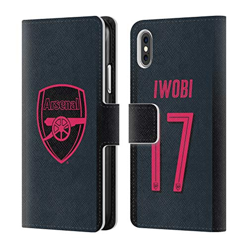 Official Arsenal FC Alex Iwobi 2017/18 Players Third Kit Group 1 Leather Book Wallet Case Cover for iPhone X/iPhone Xs
