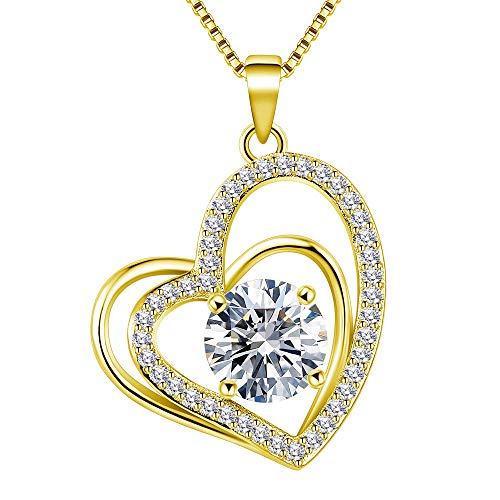 VAN RORSI&MO Heart Necklaces 5A Cubic Zirconia Heart Pendant Necklace Jewelry 14k Yellow Gold Plated Necklaces for Women