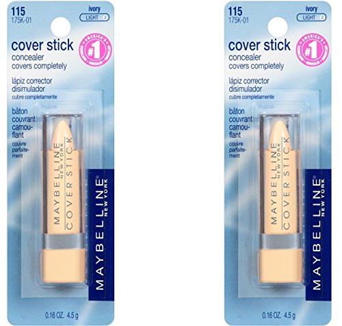Maybelline New York Cover Stick Concealer, Ivory Light 2 0.16oz/ 4.5g - (Pack of 2) (Cover Concealer Maybelline Ivory Stick)