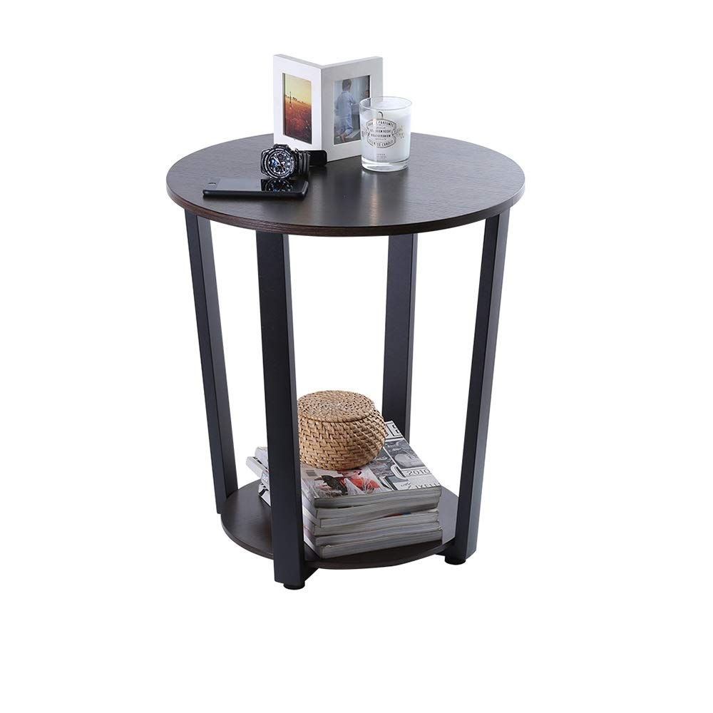 C Xyanzi Double Side Table - Glass - Snack Table Coffee Table Sofa Side Table and Laptop Table Round Black, (color   C)