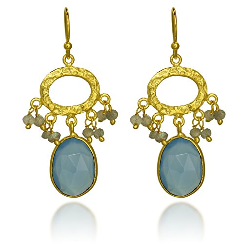 18K Gold-Plated Hammered Pear Shape Gemstone Dangle Earrings