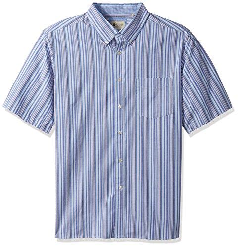 Haggar Men's Big&Tall Short Sleeve Poplin Woven Shirt, French/Strong Blue, 2X -