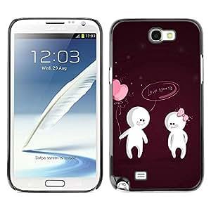 LECELL -- Funda protectora / Cubierta / Piel For Samsung Galaxy Note 2 N7100 -- Cute Love You Couple --