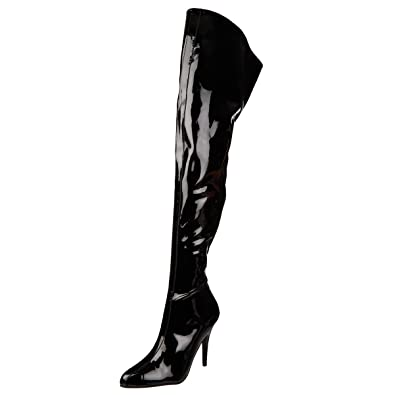 b85c82955ff Womens Sexy Thigh High Boots Wide Top Crotch Boots Black Patent 5 Inch  Heels Size