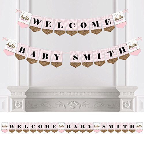 Big Dot of Happiness Custom Hello Little One - Pink and Gold - Personalized Girl Baby Shower Bunting Banner & Decorations - Welcome Baby Custom Name Banner]()