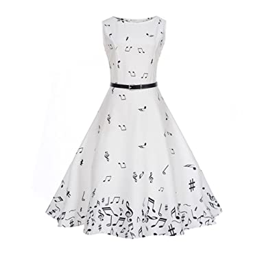 TUDUZ Women Dress Women 1950s Vintage Music Note Printing Bodycon Sleeveless Casual Cocktail Evening Party Prom