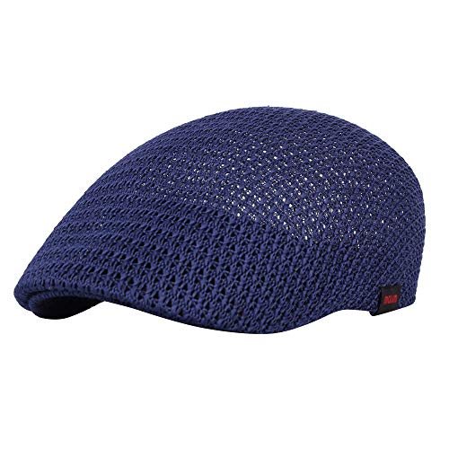 WITHMOONS Irish Hat Golf Cap Breathable Mesh Paperboy Hat Cotton AM31168 (Navy)