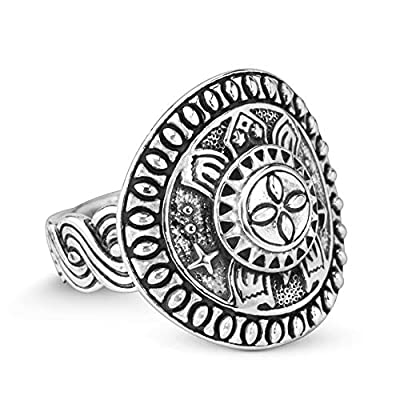 925 Silver SZ 8 thru 13 Native Celestial Turtle Shield Style Ring Round Ring