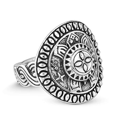 Oxidized .925 Sterling Silver Native Celestial Turtle Shield Style Ring Round Ring, Size 8 ()