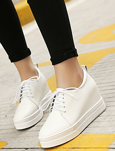 Shoes Heels Leisure Toe Platform Heighten White Aisun Round Women's Up Lace Casual qgw8Bv