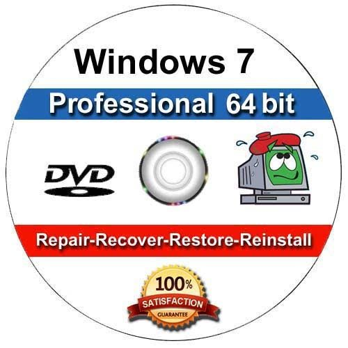 Windows 7 Professional 64-Bit Install | Boot | Recovery | Restore DVD Disc Disk Perfect for Install or Reinstall of - Windows