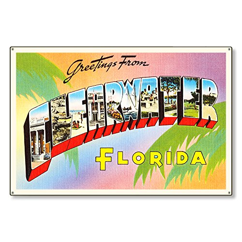 Clearwater Florida FL Postcard Metal Sign Wall Decor Large Letter Travel Greetings Souvenir 36x24