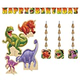 Dino Blast Decoration Party Supplies Pack Includes: Jointed Banner, Hanging Cutouts, and Centerpiece
