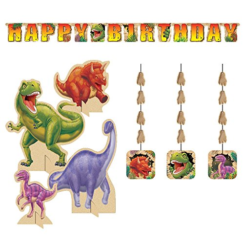 Dino Blast Decoration Party Supplies Pack Includes: Jointed Banner, Hanging Cutouts, and Centerpiece -