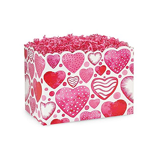 Small Watercolor Hearts Basket Boxes - 6.75 x 4 x 5in. - 60 Pack by NW