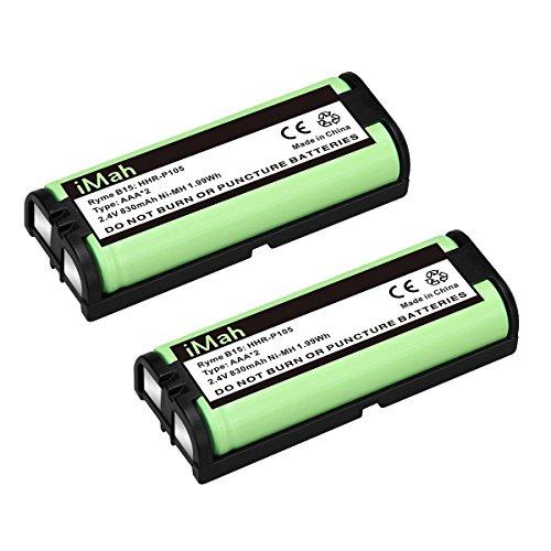 2-Pack iMah HHR-P105 Phone Battery Compatible Panasonic HHR-P105A KX-TG5777 KX-TGA242 KX-TGA571 (Type 31) Home Handset Cordless Telephone