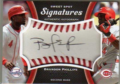 2008 Sweet Spot Signatures Red Stitch Black Ink #SBPB Brandon Phillips Autograph Baseball Swatch Card Serial #'d/200