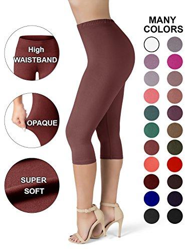 Sejora SATINA High Waisted Ultra Soft Capris Leggings - 20 Colors - Reg & Plus Size (One Size, Wild Ginger)