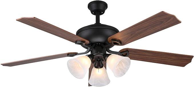 Ventilador de techo 5 aspas y 3 bombillas Ø132 cm 3 velocidades ...