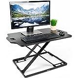"""VIVO Black Single Top Height Adjustable Standing 32"""" Desk Sit Stand Converter Tabletop Monitor Laptop Riser Platform Station (DESK-V000HB)"""