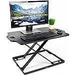 """VIVO Black Height Adjustable Standing 32"""" Desk Sit Stand Converter Tabletop Monitor Laptop Riser Platform Station (DESK-V000HB)"""