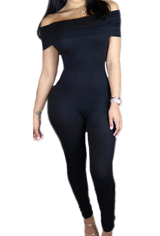 RedExtend Off Shoulder Playsuit Sleeveless Solid Color Jumpsuit Rompers