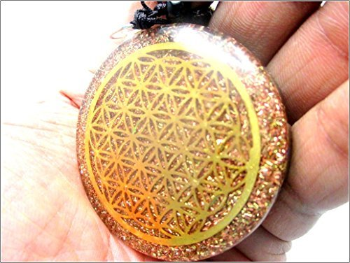 Jet Orgone Flower of Life Chakra Pendant Round 2 inch Approx. 3rd Eye Activation Boost Healing Gemstone Chakra Balancing Jet International Crystal Therapy Booklet Handmade Image is JUST A Reference