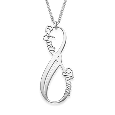 Vertical Infinity Pendant Name Necklace with Birthstones in Sterling Silver - Custom Made Jewellery f7lgg2K