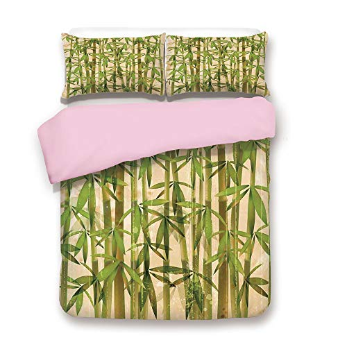 Pink Duvet Cover Set/Queen Size/Modern Illustration with Japanese Bamboo Reeds on a Vintage Background Artwork/Decorative 3 Piece Bedding Set with 2 Pillow Sham/Best Gift For Girls Women/Green Cream