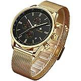 WWOOR Men's Watch Sport Watch Fashion Luxury Analog Quartz Watches with Date Stainless Steel Mesh Band Waterproof Watch Casual Gift Watch Men (Gold-Black)