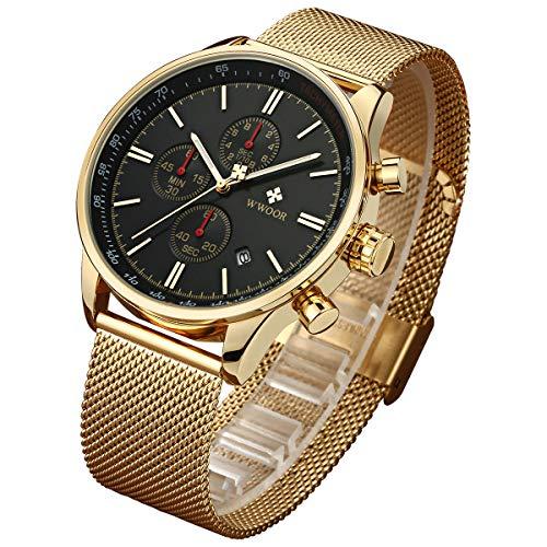 (WWOOR Men's Watch Sport Watch Fashion Luxury Analog Quartz Watches with Date Stainless Steel Mesh Band Waterproof Watch Casual Gift Watch Men (Gold-Black))