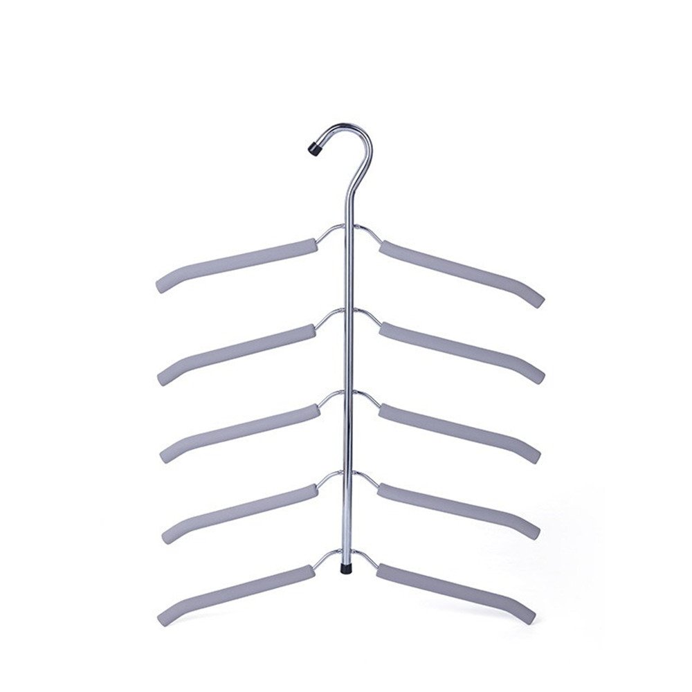 Multi-Layer Non-Slip Clothes Rack Metal Rust-Free Wardrobe Storage Hanger for Home Space Saving by laamei