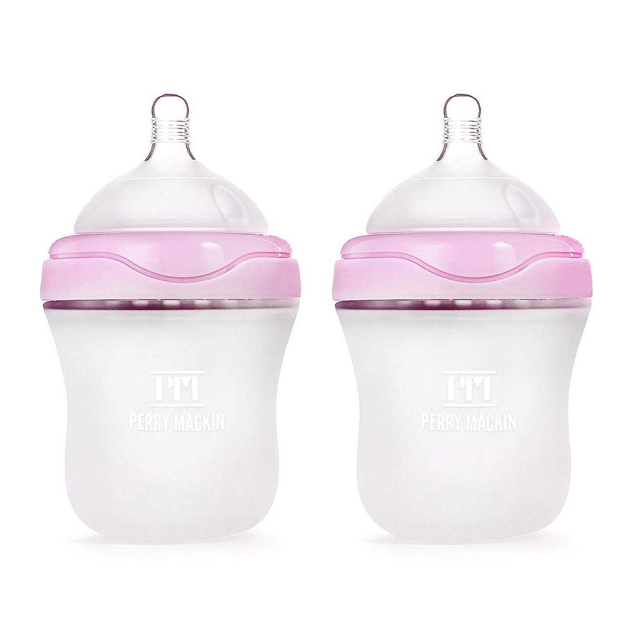 Perry Mackin Anti-Colic Silicone Baby Bottle, 6 Ounces, Pink (2-Pack)