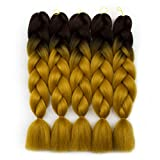 Alissa Jumbo Braiding Hair Extensions High Temperature Kanekalon Synthetic Ombre Twist Hair Multiple Tone Colored Jumbo Braiding Hair (24'', Brown-Golden)