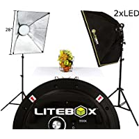LITEBOX LED Photography Softbox Light Lighting Kit with Stands, Diffusers & Travel Bag! (New Rotatable Portrait & Landscape Design) - Pair with integrated Multi-Level Dimmer Knob.