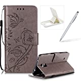 Strap Case for Samsung Galaxy Note 4,Wallet Leather Cover for Samsung Galaxy Note 4,Herzzer Classic Elegant [Gray Butterfly Pattern] PU Leather Fold Stand Card Holders Smart Phone Case for Samsung Galaxy Note 4 + 1 x Free White Cellphone Kickstand + 1 x Free White Stylus Pen