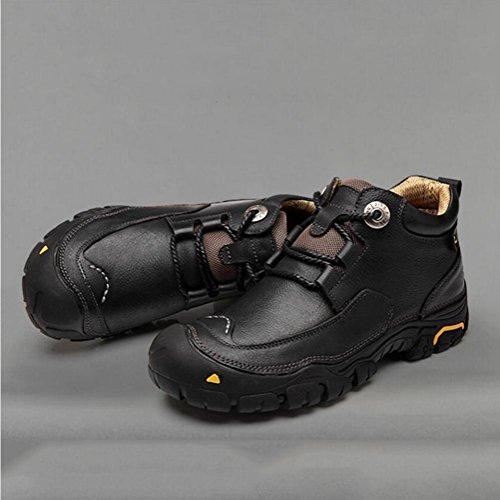 marrón El Hombre Ocio Negro Para Y Senderismo Asicser Zapatos Antideslizante En Suave Ayudar Grueso Piel Impermeable De qgTpAZ
