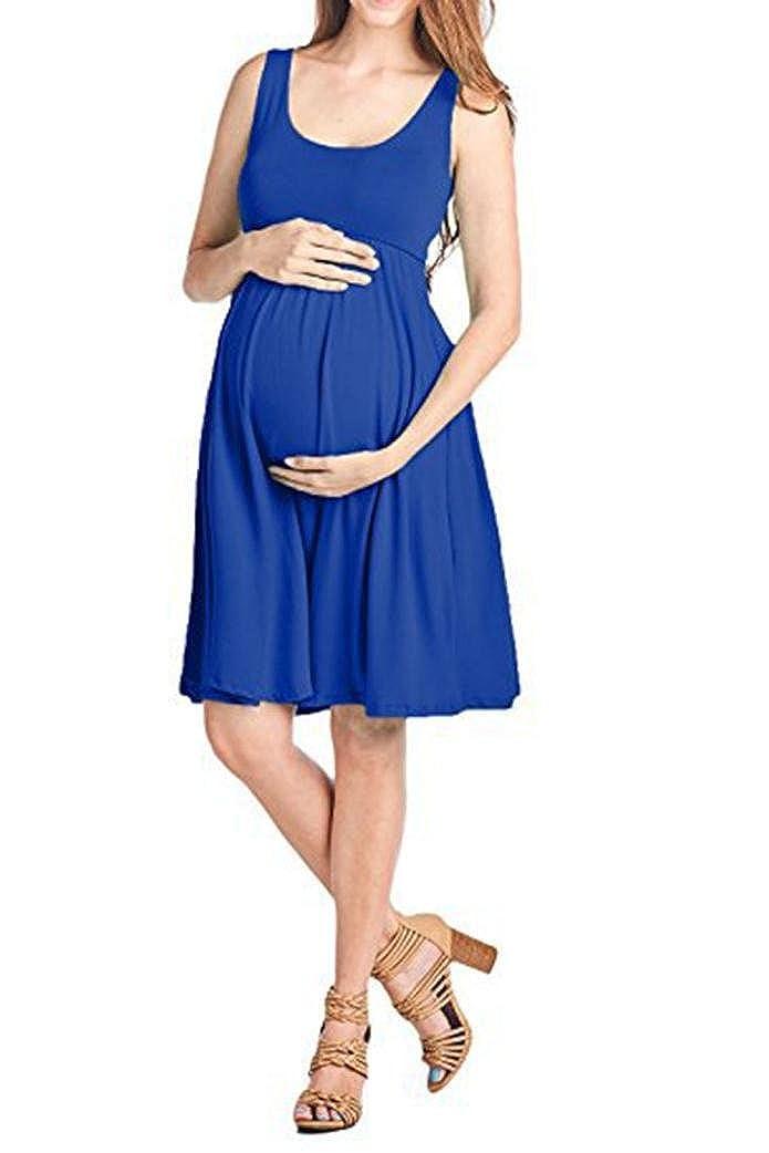 Logobeing Vestidos Premamá O-Cuello Sin Mangas Maternidad de Enfermería Sólida Chaleco Ropa Embarazos: Amazon.es: Ropa y accesorios