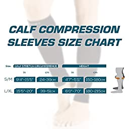 Compression Sleeve - Calf and Shin Splints Support With Guard leg, Black, 1 Pair, Small/Medium