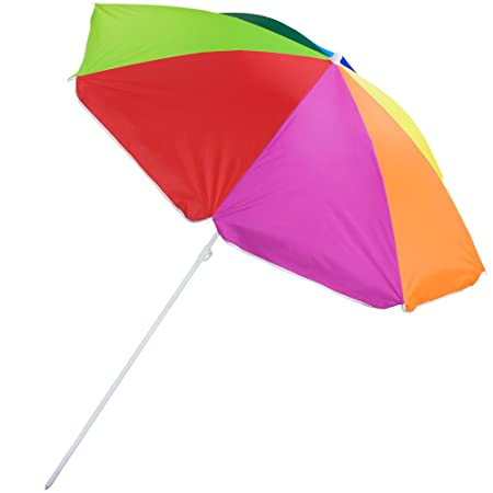 8-foot Rainbow Beach and Patio Umbrella with Adjustable Height, Tilt, and Carrying Case by Sol Coastal,