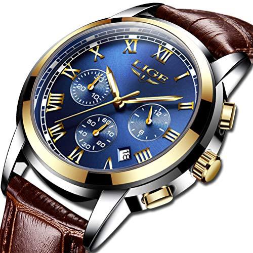Mens Watches Waterproof Business Dress Analog Quartz Watch Men Luxury Brand LIGE Date Sport Brown Leather Clock (Best Mens Dress Watches Under 1000)