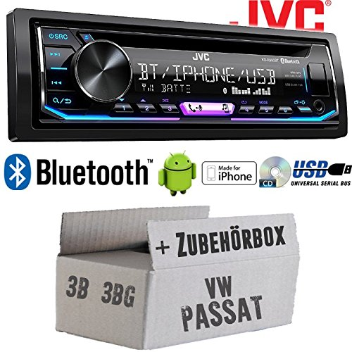 VW Passat 3B + 3BG - Autoradio Radio JVC KD-R992BT - Bluetooth | MP3 | USB | Android | Multicolor - Einbauzubehö r - Einbauset JUST SOUND best choice for caraudio VWPa3b_KD-R992BT
