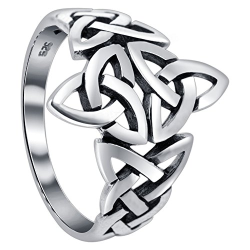 925 Sterling Silver Triquetra Celtic Knot Design Ring Size 10 -