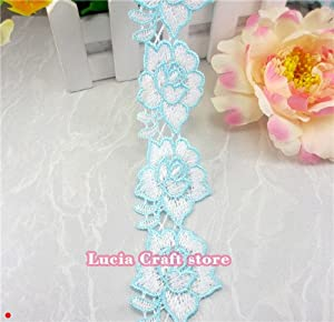 1yard/lot 4.5cm Multi colors options Flower Pattern Embroidery Lace DIY Sewing Accessories (Blue)